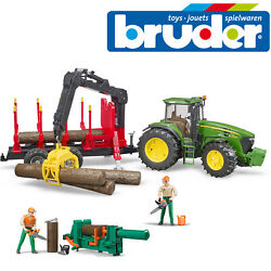 Bruder John Deere 7930 Tractor Tree Forestry Trailer And Figure Set + Accessories