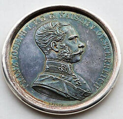 1915 Franz Joseph Austro-hungary Large Silver Medal And039for Braveryand039 Nice Toned