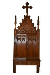 Unique Antique French Gothic Wall Cabinet, 95 Tall, Narrow, Turn Of The Century