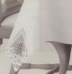 Martha Stewart Fabric Tablecloth Battenberg Lace White Oblong 60andrdquox84andrdquo New