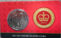 Australia 2011 William And Catherine Royal Wedding 50 Cent Coin In Card