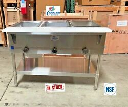 New 44 Food Wells Warmer Bain Marie Buffet Cafeteria 3 Compartment Natural Gas