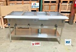 New 58 Food Wells Warmer Bain Marie Buffet Cafeteria 4 Compartment Natural Gas