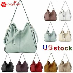 Angelkiss Women Large Handbag Designer Ladies Hobo bag Bucket Purse Faux Leather $29.99