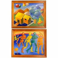J. Hance Pair Of Mid Century Colorful Cubist Paintings With Figures And Balloons