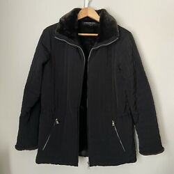 MARC NEW YORK ANDREW MARC BLACK QUILTED FABRIC JACKET FAUX FUR LINED SZ SMALL $24.00