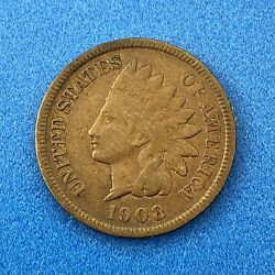 1908 S Indian Head One Cent Penny Type 3 Bronze Better Key San Francisco Coin