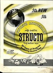 1958 Paper Ad 2 Pg Structo Toy Toys Truck Steam Shovel 50 Years Missile Launcher