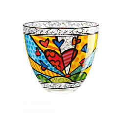 Goebel Britto Light Bowl A New Day / Boxed Glass Bowl 6 1/2in Popart Design