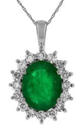 Large 3.05ct Diamond And Aaa Emerald 14kt White Gold Oval And Round Flower Pendant
