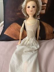 Queen Anne Wooden Vintage Reproduction Doll Real Hair Glass Eyes Approx 22andrdquo Tall