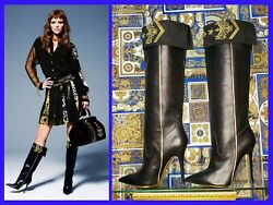 Pre-fall 2013 L 8 Versace Military Black Leather Knee Boots W/embroidery 40-10