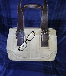 Coach Large Buff Tan Suede Brown Leather Tote Satchel Purse $40.00