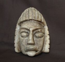 Native American Guatemala, Old Carved Marble Stone Model Of A Mayan Dead Mask