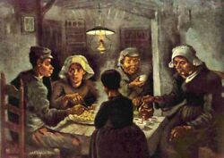 Oil Painting Vincent Van Gogh - Impressionism Supper In Farmer's House On Canvas
