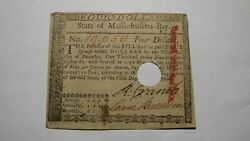 4 1780 Massachusetts Bay Ma Colonial Currency Note Bill Four Dollars Revolution