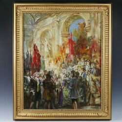Hungarian Rezso Rakssanyi 1879-1950 A Royal Ceremony Oil On Canvas Signed
