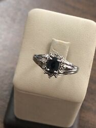 Gorgeous Sterling Silver 925 Oval Sapphire And Round Natural Diamond Ring