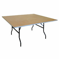Event Party 5and039 Folding Table 6 Pack Square Banquet Wooden Dining Tables
