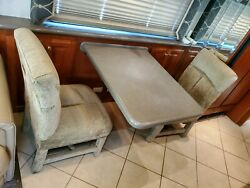 Rv, Camper, Motorhome Dinette Table And Chairs With Table Mount Wall Cabinet