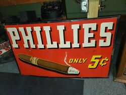 1940's Phillies 5c Cigar Sign For Tobacco   See My Other Porcelain Neon Signs