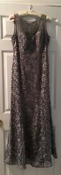 Ignite Evenings Beautiful Pewter Evening Gown Beautiful Size 10P $79.99