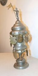 Rare Large Antique 17th Century German Handmade Forged Pewter Lidded Family Urn