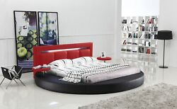 Oslo Queen Round Bed With Headboard Light Black And Red