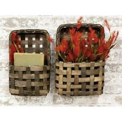 Set of Two Aged Tobacco Wall Baskets Rustic Primitive Farmhouse