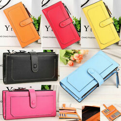 Fashion Women#x27;s Long Solid Color Leather Wallet Card Holder Gifts Clutch Purse $9.99