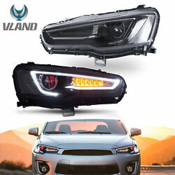 Devil Eye Led Sequential Headlights Projector Pair For 10-19 Mitsubishi Lancer