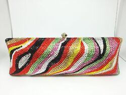 Multicoloured Zebra Women Crystal Evening Clutches Handbags Formal Party Bags $89.99
