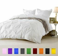 3 Pc Pinch Pleated Comforter Set 1000 Tc Egyptian Cotton Us Full And Solid Colors