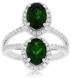 3.26ct Diamond And Aaa Green Garnet 14kt White Gold Oval And Round Double Halo Ring