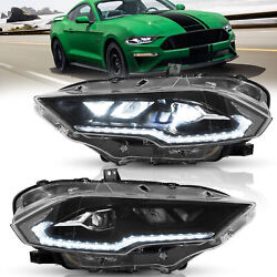 Left+right Led Headlight Projector Replacement For Ford Mustang 2018 2019 2020