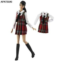 Red Plaid Student Clothes For 11.5quot; 1 6 Doll Dress Cosplay Gown 1 6 Accessories $4.26