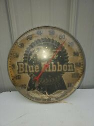 Vintage Ultra Rare 1950and039s Pabst Blue Ribbon Pam Advertising Thermometer