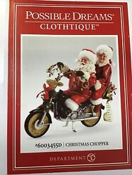 Dept 56 Possible Dreams Christmas Chopper 6003455d Santa Andmrs Claus Brand New