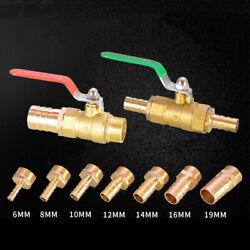 """Brass Ball Valve 1/2"""" 3/4"""" Male/female Main Body Fit 6-19mm Hose Water Airfuel"""