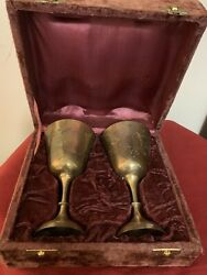 Lot Of 2 Vintage Silver Plate Wine Water Goblets 6andrdquo Tall With A Box