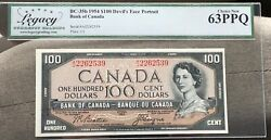 1954 Bank Of Canada 100 Legacy Choice New 63ppq - S/n A/j2262539