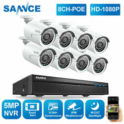 Sannce 5mp 8ch Nvr 1080p 2mp Hd Poe Security Camera System Audio Recording Home