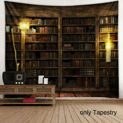 Library Retro Tapestry Bookshelf Pattern Rectangle Painting Art Wall Hanging
