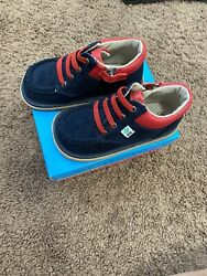 Mooshu Trainers Baby Toddler Boys Blue Suede Squeaky Bailey Ankle Boots Shoes 9