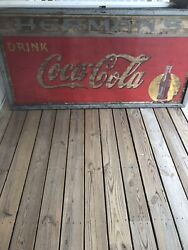 Large Vintage Metal Coca Cola Sign '6 Feet X '3 Feet Dated 1938 Antique Rare