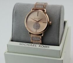 NEW AUTHENTIC MICHAEL KORS PORTIA CRYSTALS ROSE GOLD WOMEN#x27;S MK3853 WATCH $109.99