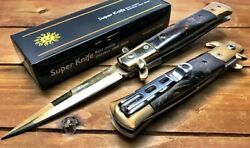 Black Pearl / Gold Stiletto Italian Spring Assisted Open Pocket Knife