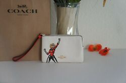 NWT COACH 3586 Marvel with Carol Danvers Wristlet Pouch Bag Leather $88 $45.80