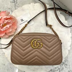 1000% AUTH 🌸 GUCCI 🌸 Marmont Matelasse GG Dusty Pink Nude Small Shoulder Bag $1250.00