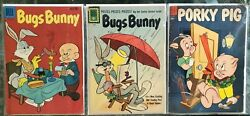 3 Assorted Dell Comic Books Bugs Bunny And Porky Pig Golden Age Comics